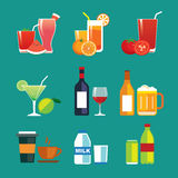 Drinks and beverages flat design icon set Stock Photos