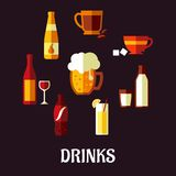 Drinks and beverages flat icons Stock Images