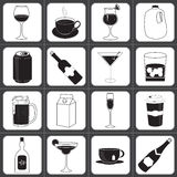 Drinks and Beverages Icon Collection Stock Images