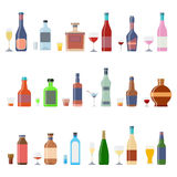 Drinks and beverages icon set. Alcohol bottles beverages with glasses. Alcohol whiskey cocktail bottle container set. Drink menu concept different beverages Stock Images