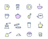 Drinks and beverages icon set. Coffee  tea, breakfast. Vector illustration Royalty Free Stock Photo