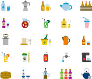 Drinks and beverages icon set Stock Photo