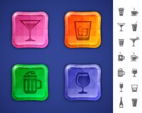 Drinks and beverages icons Stock Images