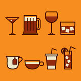 Drinks & beverages icons set Stock Photo