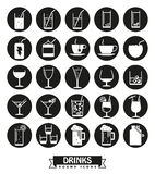 Drinks and beverages round icons vector set. Royalty Free Stock Images
