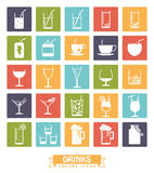 Drinks and beverages square color icons vector set. Stock Photos