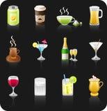 Drinks black icon set. Stock Images