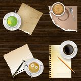 Drinks and blank paper notes. Coffee and tea with notes paper and pen in top view. Design element with empty space for text, vector illustration stock illustration