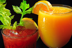 Drinks for brunch. Mimosa and bloody mary.  Delicious for breakfast or brunch Royalty Free Stock Images