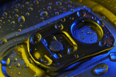 Drinks can top with drops Royalty Free Stock Photography