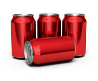Drinks cans red. 3d render Drink cans red render ( on white and clipping path Royalty Free Stock Image