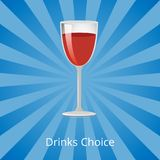 Drinks Choice Vector Illustration Shown on Blue. Drinks choice vector illustration isolated on striped dark-blue and light-blue background demonstrating glass of Royalty Free Illustration
