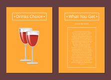Drinks Choice What You Get Cover Red Wine Glasses. Drinks choice what you get cover with red wine glasses, pink champagne vector illustration alcohol spirit Stock Image