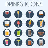 Drinks Cocktail Glasses Icon Set Royalty Free Stock Photo
