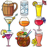 Drinks, cocktails icon set Stock Photos