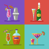 Drinks and cocktails icons. Vector illustration of alcohol bottles, drinks, and cocktails icons set in flat design style. Including cocktail shaker Royalty Free Stock Photo