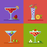 Drinks and cocktails icons. Vector illustration of alcohol bottles, drinks, and cocktails icons set in flat design style. Including different snacks - cherry Stock Photography