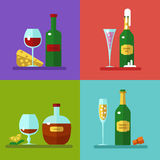 Drinks and cocktails icons. Vector illustration of alcohol bottles, drinks, and cocktails icons set in flat design style. Including different snacks - cherry Royalty Free Stock Images