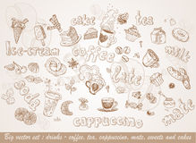 Drinks - coffee, tea, cappuccino, mate, sweets and royalty free stock photos
