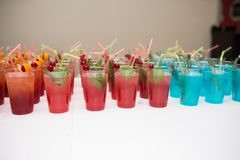Drinks, colorful cocktails on the party. Set of alcohol cocktails with fruits. Stock Image