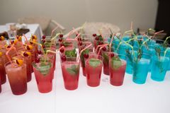 Drinks, colorful cocktails on the party. Set of alcohol cocktails with fruits. Royalty Free Stock Photos