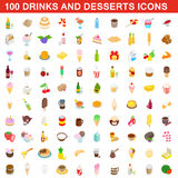 100 drinks and desserts icons set, isometric style. 100 drinks and desserts icons set in isometric 3d style for any design vector illustration Stock Images
