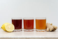 Drinks of different colours Stock Photography