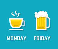 Drinks in different day of the week Royalty Free Stock Image