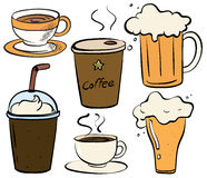 Drinks. Different kind of drinks cold and hot stock illustration