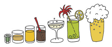 Drinks. Drawing of funny drinks in glasses, brandy, juice, vine, coctail, beer Royalty Free Stock Photo