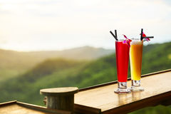 Drinks. Exotic Cocktails, Landscape ( View ) On Background. Thai Stock Photo