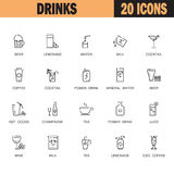 Drinks flat icon or logo set for web design. Royalty Free Stock Image