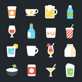 Drinks Flat Icons Stock Images