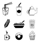 Drinks and food. Icons over white background vector illustration Royalty Free Stock Photo