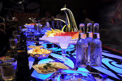 The drinks and food in bar Royalty Free Stock Images