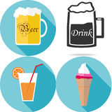 Drinks and food. Beer mugs, glass of juice, ice cream. Flat design, illustration stock illustration