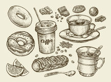 Drinks and food. Hand drawn coffee, tea, cup, dessert, candy, chocolate, eclair, cake, doughnut, donut. Sketch vector Stock Photography