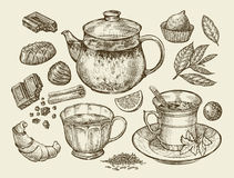 Drinks and food. Hand drawn tea, coffee, teapot, cup, chocolate, candy, croissant, dessert. Sketch vector illustration Stock Images