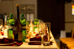 Drinks on a formal dinner table Royalty Free Stock Image