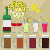 Drinks and fruits Stock Image