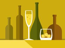 Drinks by the glass, bottle, colour illustrations. Royalty Free Stock Photography
