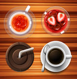Drinks in glass and cups Stock Photo