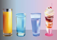 Drinks and ice cream. Stock Photography