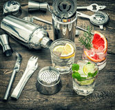 Drinks ice tonic water. Cocktail making accessories vintage Royalty Free Stock Image