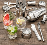 Drinks with ice and tonic water. Cocktail making bar accessories Royalty Free Stock Photography