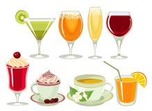 Drinks-icon-set. Royalty Free Stock Photo