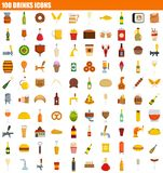 100 drinks icon set, flat style. 100 drinks icon set. Flat set of 100 drinks icons for web design stock illustration