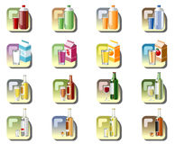 Drinks icons. Illustration of icons for different drinks, bottles, drink containers and glasses Royalty Free Stock Photo