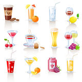 Drinks icons. Set of 12 drinks icons Royalty Free Stock Photos