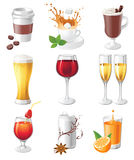 Drinks icons. 9 highly detailed drinks icons stock illustration